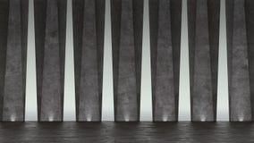 3d abstrakta betonu sala wystawowa projekta nowożytny geometryczny Biały podłogi i ściany tło royalty ilustracja
