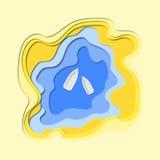 3d abstrakta papieru rżnięty illlustration jezioro, piasek i łodzie, Wektorowy kolorowy szablon w cyzelowanie sztuki stylu royalty ilustracja