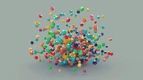 3d abstrakte bunte platonische Zusammensetzung, Hintergrund stock abbildung