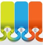 3d abstrato etiqueta o fundo com etapas de ABC da cor Foto de Stock