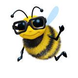 3d Academic bee. 3d render of a bee wearing a large pair of spectacles Royalty Free Stock Images