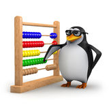 3d Academic penguin with abacus Royalty Free Stock Photos