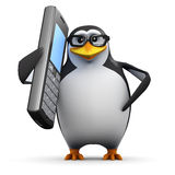 3d Academic penguin chatting on a cellphone. 3d render of a penguin chatting on a mobile phone Stock Image
