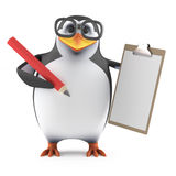 3d Academic penguin with a clipboard and pencil. 3d render of a penguin holding a clipboard and pencil Royalty Free Stock Image