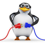 3d Academic penguin connecting two plugs. 3d render of a penguin holding two plugs and leads Royalty Free Stock Photography