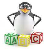 3d Academic penguin with counting blocks. 3d render of a penguin standing with counting blocks Royalty Free Stock Photography