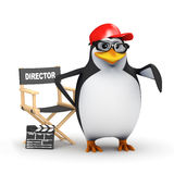 3d Academic penguin directs his latest movie. 3d render of a penguin with his directors chair and clapperboard Royalty Free Stock Images