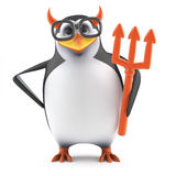 3d Academic penguin dressed as the devil. 3d render of a penguin with horns and holding a trident Stock Photography