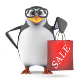 3d Academic penguin has been to the sales. 3d render of a penguin with a sale bag Royalty Free Stock Images
