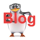 3d Academic penguin has a blog. 3d render of a penguin holding the word Blog Stock Photo