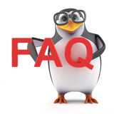 3d Academic penguin has a FAQ Royalty Free Stock Photos