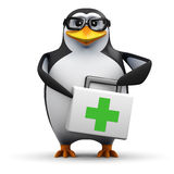 3d Academic penguin has a first aid kit. 3d render of a penguin with a first aid kit Royalty Free Stock Images