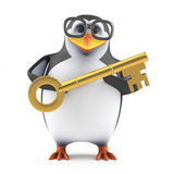 3d Academic penguin has a gold key. 3d render of a penguin holding a gold key Stock Photography