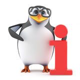 3d Academic penguin has information. 3d render of a penguin with the Information symbol Royalty Free Stock Photography