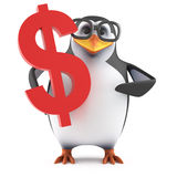 3d Academic penguin has US Dollars. 3d render of a penguin holding a US Dollar symbol Stock Photography