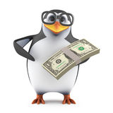 3d Academic penguin has US Dollars. 3d render of a penguin holding a wad of US Dollars Royalty Free Stock Photo