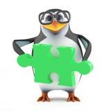 3d Academic penguin holding a green jigsaw puzzle piece. 3d render of a penguin holding a piece of green jigsaw puzzle piece Royalty Free Stock Photos