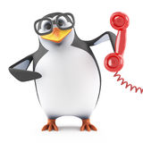 3d Academic penguin holding a red telephone handset Stock Photo