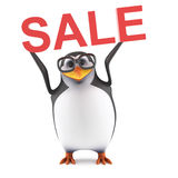 3d Academic penguin holding a Sale. 3d render of a penguin holding the word SALE above his head Stock Photography