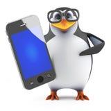 3d Academic penguin holding a smartphone. 3d render of a penguin holding a smartphone Stock Photo