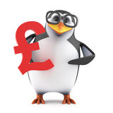 3d Academic penguin holding a UK Pounds symbol. 3d render of a penguin holding a UK Pounds Sterling currency symbol stock illustration