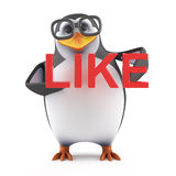 3d Academic penguin holding the word Like. 3d render of a penguin holding the word Like Royalty Free Stock Images