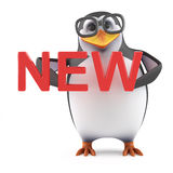 3d Academic penguin holding the word New. 3d render of a penguin holding the word New Stock Photo
