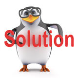 3d Academic penguin holding the word Solution. 3d render of a penguin holding the word Solution Stock Photo