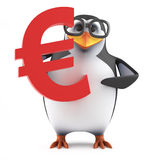3d Academic penguin holds a Euro currency symbol. 3d render of a penguin holding a Euro currency symbol Royalty Free Stock Photography