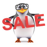 3d Academic penguin holds a Sale. 3d render of a penguin holding the word Sale Stock Images