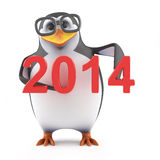 3d Academic penguin holds up the year 2014. 3d render of a penguin holding the number 2014 Stock Images