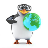 3d Academic penguin holds the world in his hands. 3d render of a penguin holding a globe of the Earth Stock Image