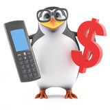 3d Academic penguin looks at the cost of his mobile. 3d render of a penguin holding a mobile phone and a US Dollar symbol Royalty Free Stock Images