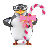 3d Academic penguin loves candy. 3d render of a penguin with some pink candy Royalty Free Stock Photos