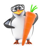 3d Academic penguin loves carrots. 3d render of a penguin holding a carrot Stock Photos