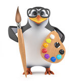 3d Academic penguin loves to paint. 3d render of a penguin with a paint brush and palette Stock Photo