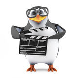 3d Academic penguin makes a movie. 3d render of a penguin holding a clapperboard Royalty Free Stock Image