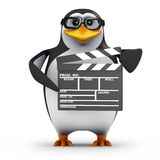 3d Academic penguin makes a movie. 3d render of a penguin holding a movie makers clapperboard Stock Images