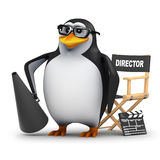 3d Academic penguin makes movies. 3d render of a penguin with a directors chair, bullhorn and clapperboard Royalty Free Stock Photos