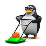 3d Academic penguin mows the lawn Stock Photos