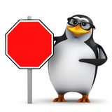 3d Academic penguin next to a blank road sign. 3d render of a penguin standing next to a blank road sign Stock Images