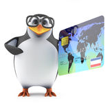 3d Academic penguin pays with a credit card. 3d render of a penguin holding a credit card Royalty Free Stock Image
