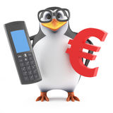 3d Academic penguin with phone and Euro symbol Stock Photography