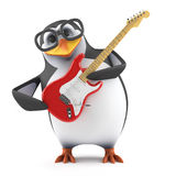 3d Academic penguin plays electric guitar. 3d render of a penguin playing an electric guitar Stock Photos