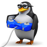 3d Academic penguin plays a videogame Stock Photos
