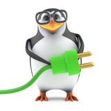 3d Academic penguin plugs in the green energy. 3d render of a penguin holding a green power plug Stock Photo