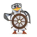 3d Academic penguin steers his ship. 3d render of a penguin steering a yacht with a steering wheel Royalty Free Stock Photography