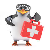 3d Academic penguin supplies first aid. 3d render of a penguin holding a first aid kit Royalty Free Stock Images