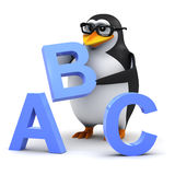 3d Academic penguin teaches the alphabet. 3d render of a penguin with letters of the alphabet Royalty Free Stock Photo