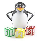 3d Academic penguin teaches math. 3d render of a penguin with counting blocks Stock Photo